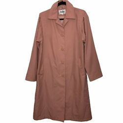 Totes Size 4 Petite Women#x27;s Vintage Pink Button Trench Coat Pockets Lined $22.39