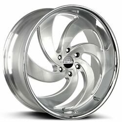 4 24 Strada Wheels Retro 6 Silver W Brushed Face And Ss Lip Rims Blank B6