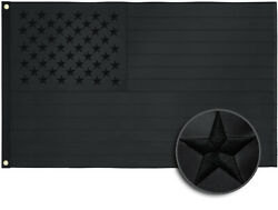 ALL Black American Flag US Black Flag Embroidered Stars UV Protection Blackout