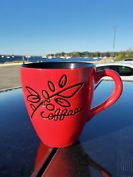 Starbucks 2007 Coffee Cup Mug 12oz Red And Black, Coffee Beans And Leaves