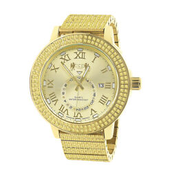 Full Stainless Steel Men's Real Diamond Dial Canary Gold Tone Watch W/date 54mm
