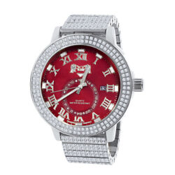Full Stainless Steel Real Diamond Ruby Red Dial 18k White Gold Watch W/date 54mm