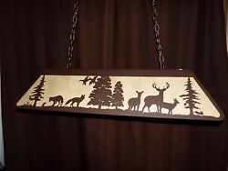 X Large Laser Cut Steel Whitetail Deer And Fox Pool Table Light Lamp Hunt Copper