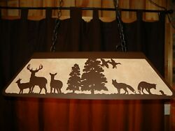 Laser Cut Steel Whitetail And Fox Pool Table Light Lamp Hunt Cabin Copper