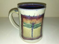 Studio Pottery Dragonfly Mug Handmade Glazed And Fired Signed By Artist / Reece