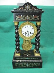 19th Century French Empire Style Portico Clock With Brass Inlay Fully Serviced