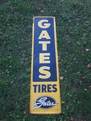 Vintage Gates Tire Sign, 54 X 14 Tire Sign, Embossed Sign