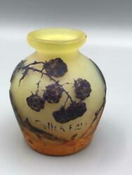 Original Muller Fres By Luneville French Cameo 3 Art Glass Vase Antique