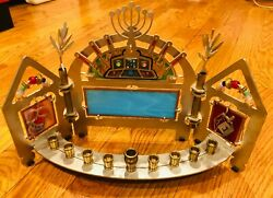 Modern Colorful Stainless And Glass Beaded Chanukah Menorah - New
