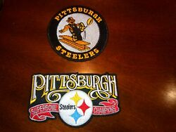 2- Pittsburgh Steelers Patches Embroidered Vintage Iron On Patch Lot 3 And 4