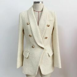 Double Breasted Cream Thick Tweed Blazer With Gold Buttons Slim Fit Jacket