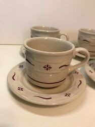 Longaberger Pottery Woven Traditions Traditional Red Cup And Saucer Set Of 4 Bba