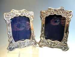 Pair Sterling Silver Art Nouveau Butterfly Styled Picture Frames