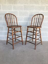 Antique Maple Hoop Back Bar Stools - A Pair