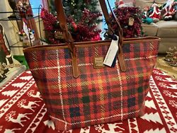 NWT Dooney amp; Bourke Red Plaid Leather Braided Handle Shopper Tote Handbag $135.95