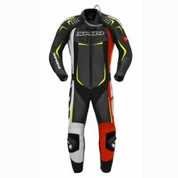 Spidi Track Wind Pro Ce Black Red Yellow One Piece Motorcycle Leather Race Suit