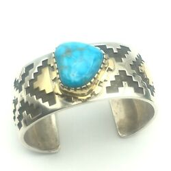 Navajo Handmade Turquoise Silver And 14k Gold Overlay Cuff Bracelet