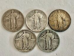 Sale__5- Rare U.s. Silver Standing Liberty Quarters, Please See  Coins And Gold
