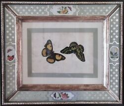 Antique C. 1850 Canton Watercolor With English Eglomise Frame Mint Condition