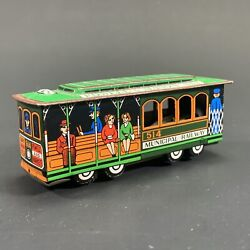 Vintage Japanese-made San Francisco Cable Car Tin Friction Toy Powell And Mason