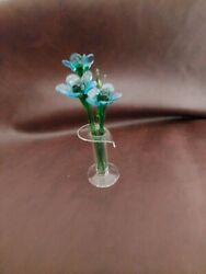 Lsarts Glass 3 Blue Flowers 5 W/ Vase And 2 Fancy Leaves Hand Blown Glass