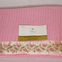 New Vintage Fieldcrest Thermal Acrylic Blanket Double Pink Embroidered Flowers