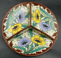Gouda Regina Colorful Floral Design Three Sectional Plate By Ronny Ca 1920