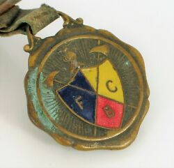 Antique Brass Pocket Watch Fob Knights Of Pythias Fraternal Enamel Medal Axes