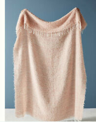 """Nwt Anthropologie Delphine Woven Wool Mohair Pink 71""""x 51"""" Oblong Throw Blanket"""