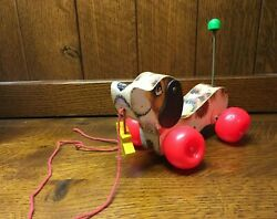 Vtg 1968 Fisher Price Little Snoopy Pull Along Toy With Shoe