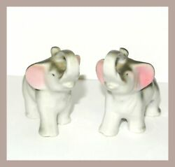Lot Of 2 Vintage Ceramic Elephant Figurine Japan Gray White Collectible