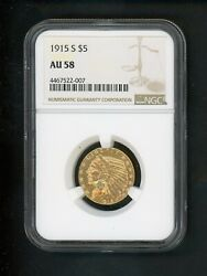 1915 S Us Gold Indian Half Eagle 5.00 5 Ngc Au 58 About Unc Bright Fresh Look