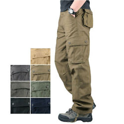 Menand039s Tactical Cargo Army Work Trousers Combat Outdoor Pocket Pants Plus Size