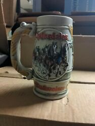 1983 Budweiser Holiday Christmas Beer Stein Mug Clydesdales
