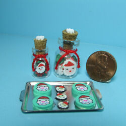Dollhouse Miniature Christmas Santa Claus Candy Jars And Cookie Sheet