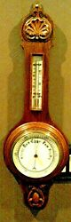 Antique Victorian Ornate Hand Carved Oak Aneroid Wall Barometer And Thermometer