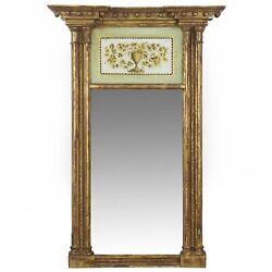 American Federal Giltwood Mirror W/ Painted Eglomise Panel, New England, C. 1810
