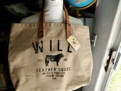 WILL Leather Goods Khaki Tan Large Shoulder Canvas Tote Bag leather handles USA $30.00