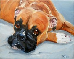 Boxer Dog Portrait, Large Oil Painting Custom, Your Dog From Your Photos Rzzart