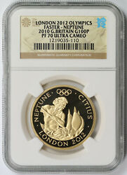 London Olympics Faster - Neptune 2010 Great Britain Gold 100 Pounds Pf 70 Uc Ngc