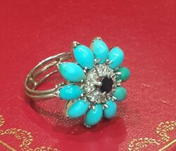 Stunning Vintage 9ct White Gold Turquoise, Diamond And Saphire Ring Size O 1/2