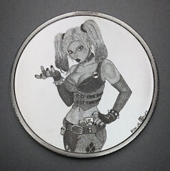 Hand Engraved Silver Art By By Ron Jr On A 1 Oz Mpm Round Harley Quinn