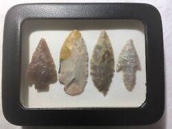 Stone Age Ancient Neolithic Stone Arrowheads In Display Case