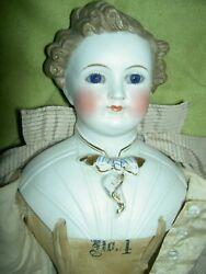 Rare Antique 17 Parian Dresden Male Doll Glass Eyes Molded Shirt And Tie Exlnt