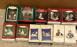 Lot Of 12 Frosty Friends Hallmark Ornaments 1987-2008 And 40th Pin In Boxes
