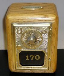 Antique Post Office Box Door Bank-1903 Pointer And Dial Flat Glass-oak