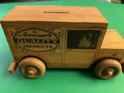 Original Vintage Very Rare 1950s 1960s Old Armour Hotdog Coins Toy Truck Wooden