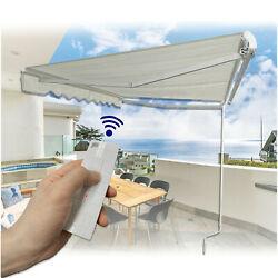 Electronic 12and039andtimes10and039awning W/ Remote Control Or Crank Handle Sun Shade Canopy Pati