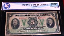 1933 5 Imperial Bank Of Canada Large Chartered Banknote