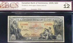 Canadian Bank Of Commerce 1935 20 - Neptune And Priestesses Chartered Banknote